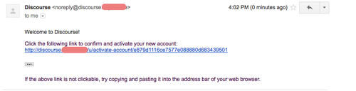 Email from discourse which contains the password