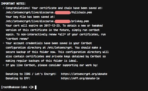 SSL certificate has been created