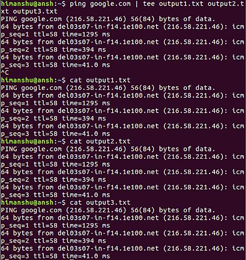 How to make tee write to multiple files