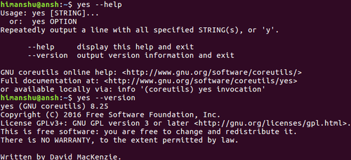 What command line options yes offers