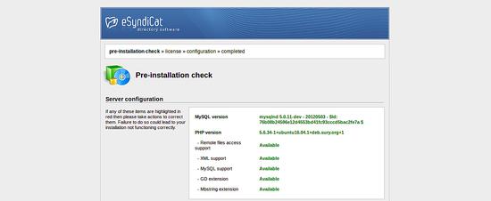 eSyndicat installation check