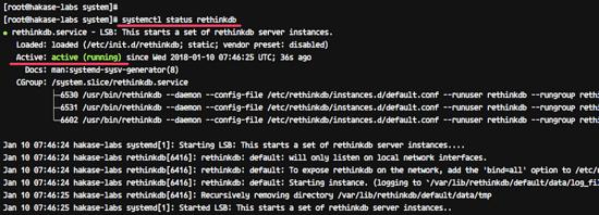 Check the status of RethinkDB