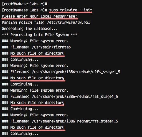 Configure tripwire policy on CentOS