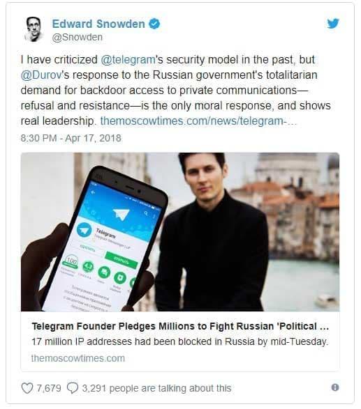 فیلتر تلگرام - ادوارد اسنودن