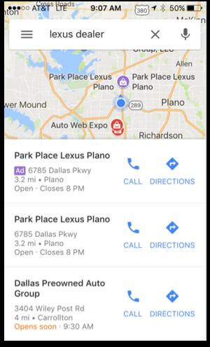 نمایش تبلیغ در جستجوی محلی گوگل در موبایل