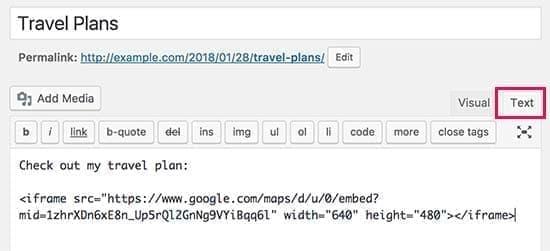 paste کردن کد نقشه تعاملی در وردپرس