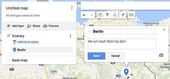 افزودن توضیحات به نقشه در google my maps