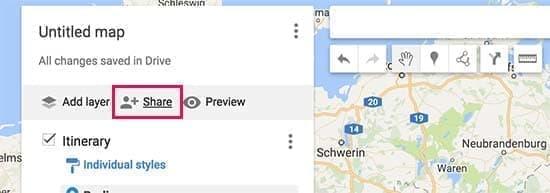 به اشتراک گذاری نقشه در google my maps