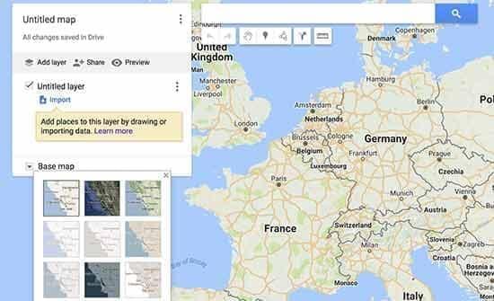 ویرایش نقشه در google my maps