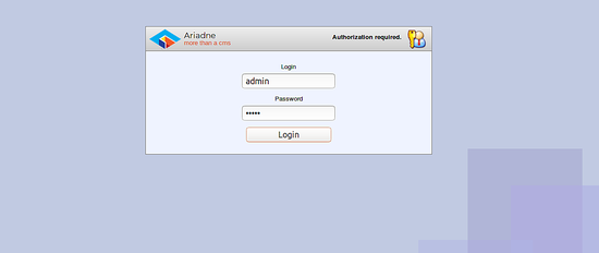 Login to Ariadne CMS