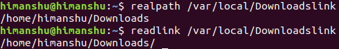 resolve path using realpath and readlink