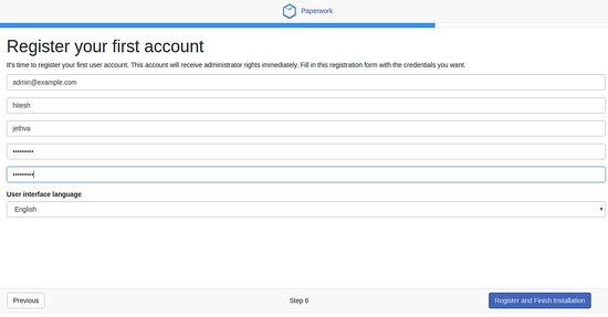 Create first account