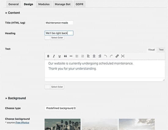 طراحی صفحه حالت تعمیر و نگهداری در وردپرس