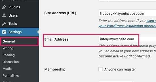 تغییر ایمیل ادمین در وردپرس