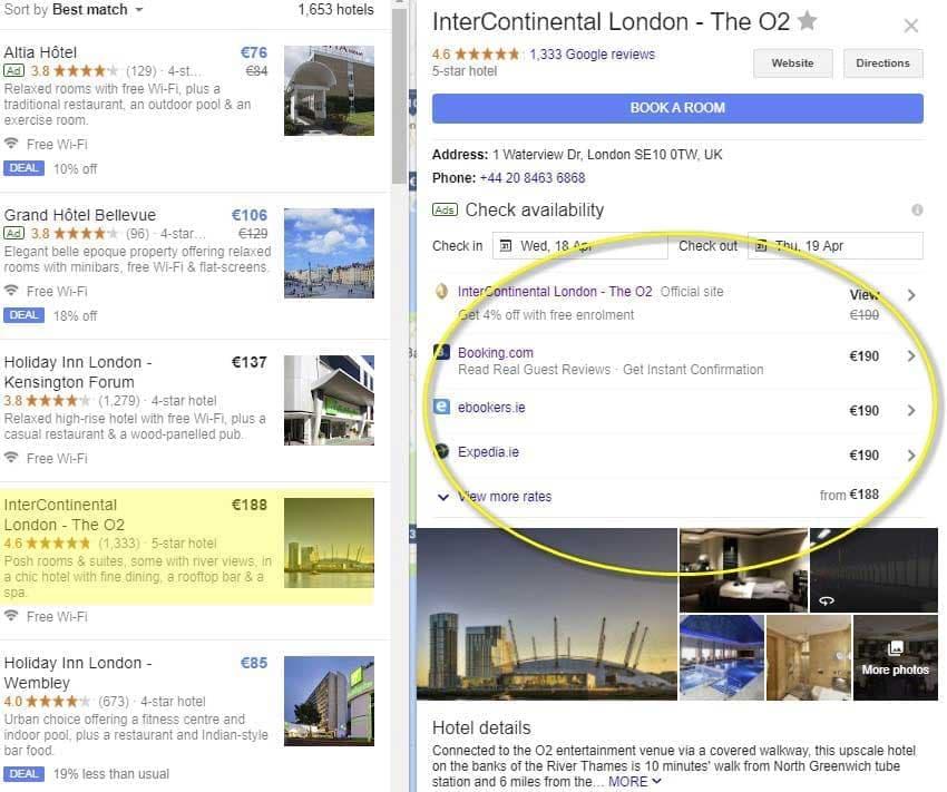 کارت اطلاعات هتل در گوگل ادز