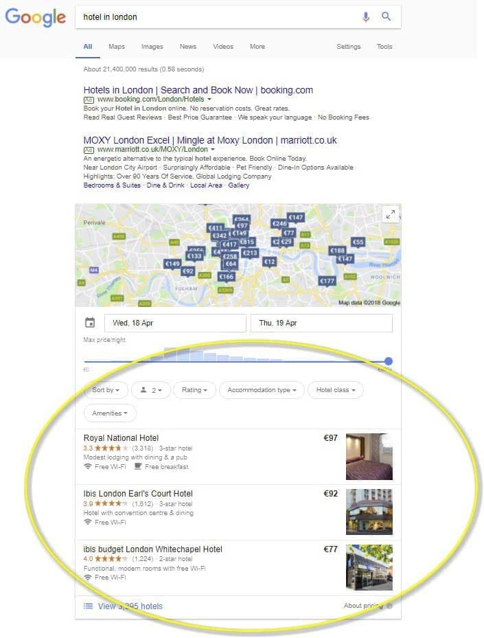 تبلیغات هتلی گوگل