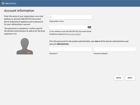Enter admin account information