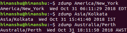 Use zdump to fetch city specific information