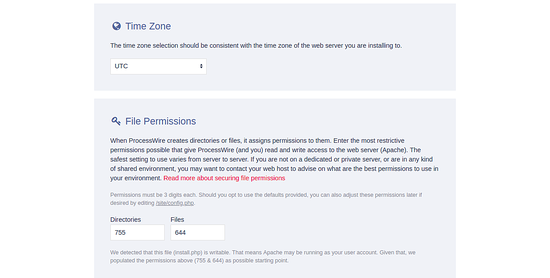 Timezone and file permissions