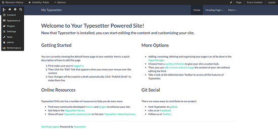 Typesetter CMS installed- Login to Dashboard