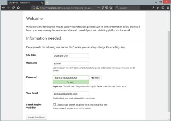 WordPress site information