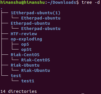 How to make tree only display directories in output