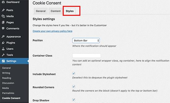 تنظیم جایگاه نمایش کوکی پاپ آپ در پلاگین cookie consent