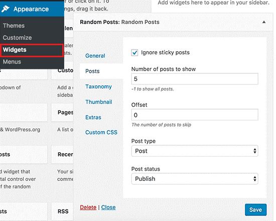 random posts widget ویجت نمایش تصادفی مطلب در وردپرس