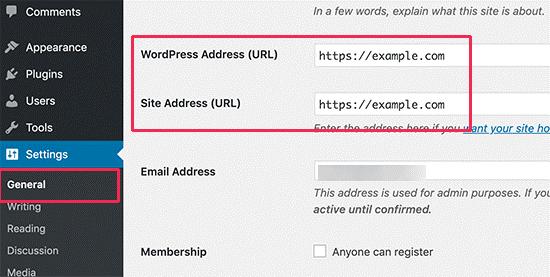 تعیین آدرس سایت در وردپرس