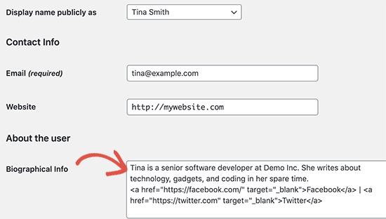 اضافه کردن اطلاعات نویسنده