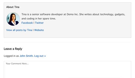 جعبه سفارشی اطلاعات نویسنده