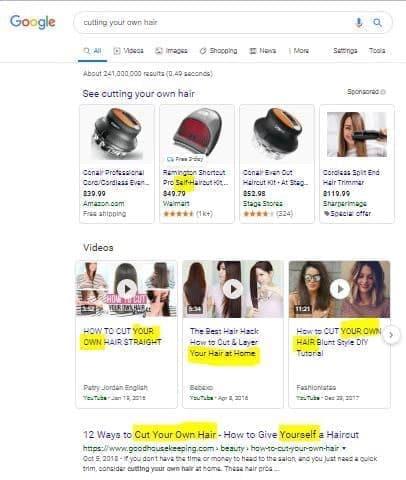 نتایج جستجوی عبارت cutting-your-own-hair در گوگل