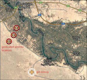 حمله هدفمند به یک کاروان وسایل نقلیه مجهول داعش در نزدیکی فلوجه ، عراق